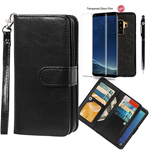 xhorizon FLK Leather Folio Case Wallet Magnetic Detachable Removable Wristlet Purse Soft Multiple Card Slots Cover Samsung S9 Plus Clear Full Coverage Protective Film Bonus 2 in 1 Stylus
