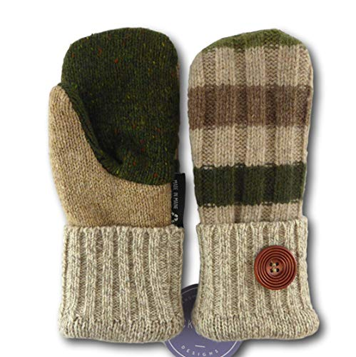 (Jack & Mary Designs Handmade Kids Fleece-Lined Wool Mittens, Made from Recycled Sweaters in the USA (tan/green/brown, Large))