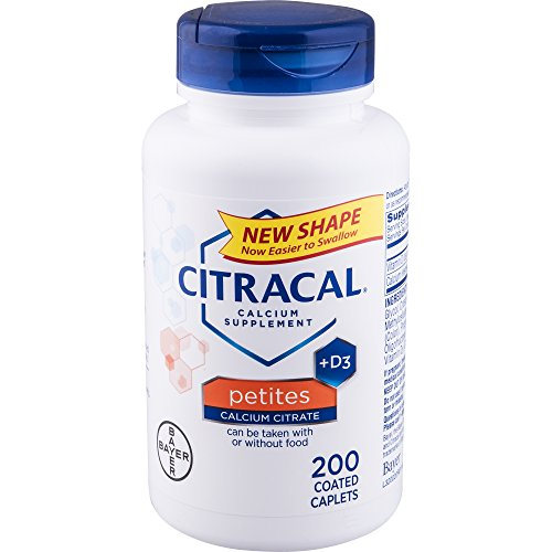 Schiff Bone Minerals - Citracal Petites, Highly Soluble, Easily Digested, 400 mg Calcium Citrate With 500 IU Vitamin D3, Bone Health Supplement for Adults, Relatively Small Easy-to-Swallow Caplets, 200 Count
