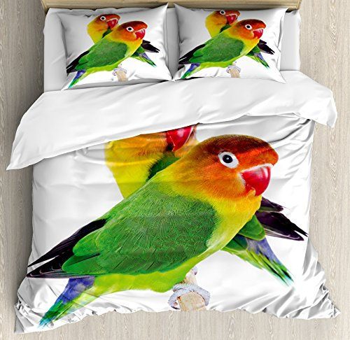 Lunarable Bird Duvet Cover Set Queen Size, Pair of Lovebirds Agapornis Fischeri Colorful Couple Domestic Family Funny and Cute, Decorative 3 Piece Bedding Set with 2 Pillow Shams, Multicolor (Love Birds 2)