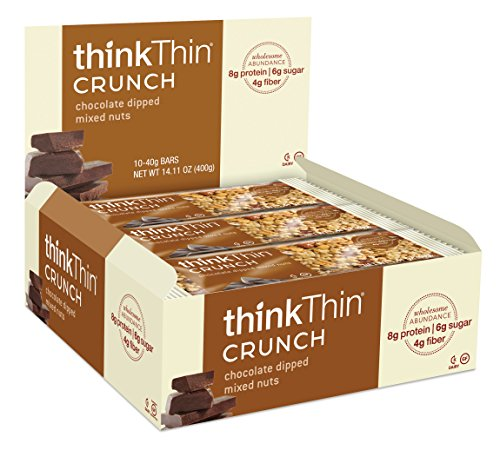 thinkThin Crunch, noix mélangées de enrobées de chocolat, sans gluten, 1,41 onces Bars (pack de 10) - emballages peuvent différer