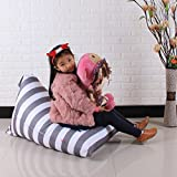 DDLBiz Kids Stuffed Animal Plush Toy Storage Bean Bag Chair Soft Pouch Stripe Fabric Chair (E)