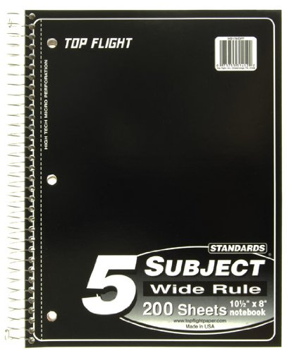 Top Flight Standards 5-Subject Wirebound Notebook, 200 Sheets, 3-Hole Punched, Wide Rule, 10.5 x 8 Inches, 1 Notebook, Color May Vary (31412)