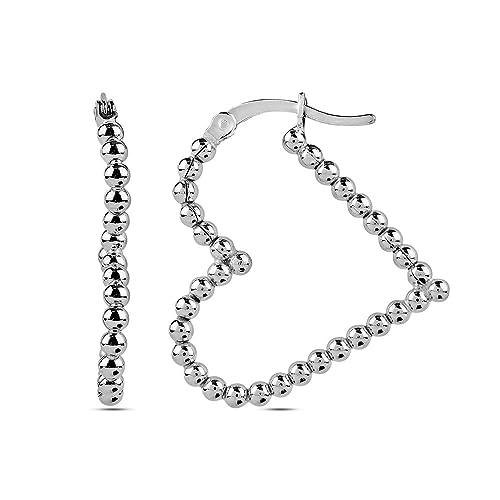 c8fcfde08 LeCalla Sterling Silver Valentines Day Jewelry Heart Shape Love Theme Hollow  Balls Hoop Earring for Women
