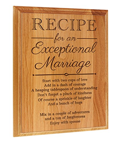 Wedding Gifts Ideas Recipe for an Exceptional Marriage Wedding Plaques Wedding Gifts for Bride and Groom 7x9 Oak Wood Engraved Plaque Wood (Ideas Plaque Wedding)