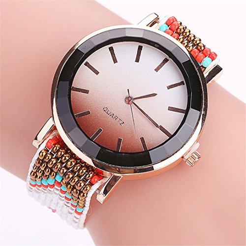 Hunputa Fashion Women's Multi Colors Braided Handmade Beads Band Casual Wrist Ladies Quartz Watch (F)