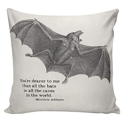Halloween Addams Family Morticia Quote Cushion Cover Pillowcase Cover Cotton Canvas Throw Pillowcase 18 inch Square -