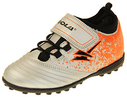 Gola Boys Astro Turf Kids Sports Velcro Lace Up Shoes Football Trainers Silver, Black & Orange 9 US Toddler