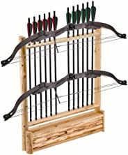 Rush Creek Creations 37-0039 Rustic 2 Compound Bow - 12 Arrow Wall Storage Rack with Accessory Compartment