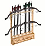 Rush Creek Creations Rustic 2 Compound Bow - 12 Arrow Wall Storage Rack with Accessory Compartment - Handcrafted - Durable Material