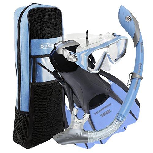 U.S. Divers Diva Women Snorkeling Set, Ladies Silicone Mask, Trek Travel Fins, Dry Top Snorkel + Gear Bag