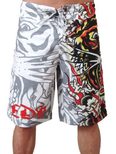 New Ed Hardy Men's Burning Tiger Poly Board Shorts Trunks (36, White) - Ed Hardy Boardshorts