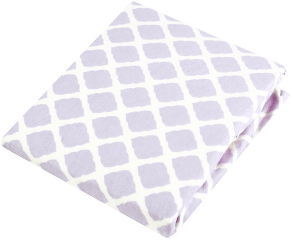 Kushies Changing Pad Cover With Safety Straps, Soft 100% Breathable Cotton Flannel, Made in Canada, Lilac Lattice Kushies Baby S347-586