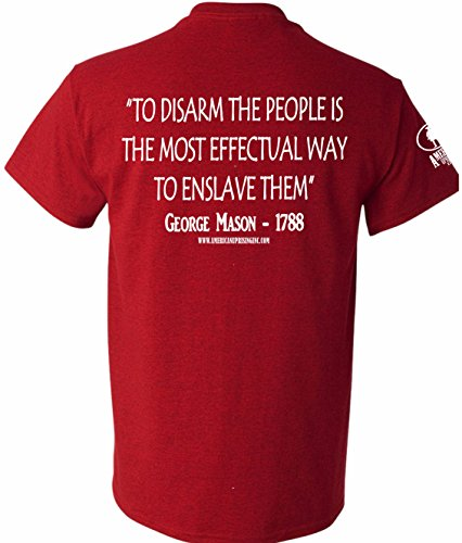 American Uprising George Mason to Disarm The People Don't Tread On Me Men's T-Shirt Tee (Large, Cherry Red)
