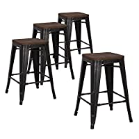 """LCH 24"""" Bar Stools Kitchen Counter Height Stackable Metal Stools, Set of 4 Modern Industrial Dining Bar Chairs with Square Elm Wood Seat, Sanded Black"""