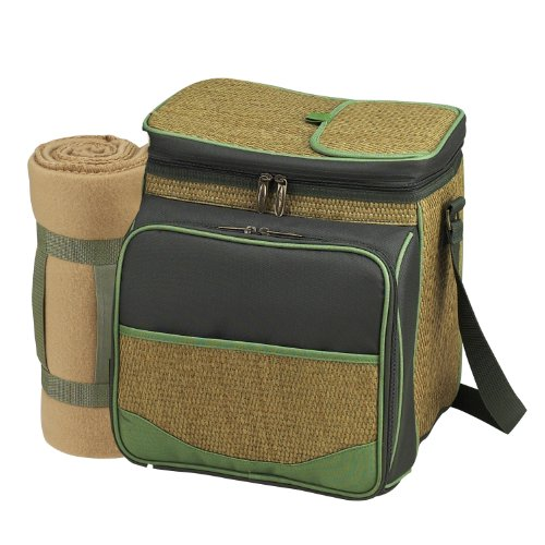 Picnic at Ascot Insulated Picnic Basket Cooler Fully Equipped for 2 with Blanket – Forest Green