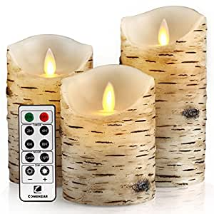 """Flickering Candles, Candles Birch Set of 4"""" 5"""" 6"""" Birch Bark Battery Candles Real Wax Pillar with Remote Timer By Comenzar"""