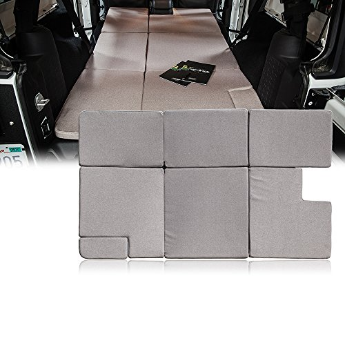 Bed Jeep (Xprite Browm Jeep Wrangler JKU 2007-2018 Sleeping Mattress Camping Pad Bed Platform, NitePad Sand Premium 1.5-inch Thick Portable Trunk Cushion)