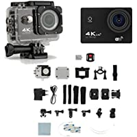 4K Ultra HD 16MP 1080p 60fps Black Sports Action Camera + Full Accessory Bundle