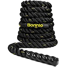 "Bonnlo Exercise Rope 1.5""/ 2"" Width Poly Dacron 30/40/50ft Length, Battle Rope Workout Training Undulation Rope Fitness Rope Climbing Rope"
