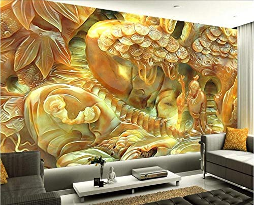Kecoci 3D Wallpaper Mural Living Room Bedroom Jade Carving Ancient TV Background Wall Relief mural-350cmX245cm