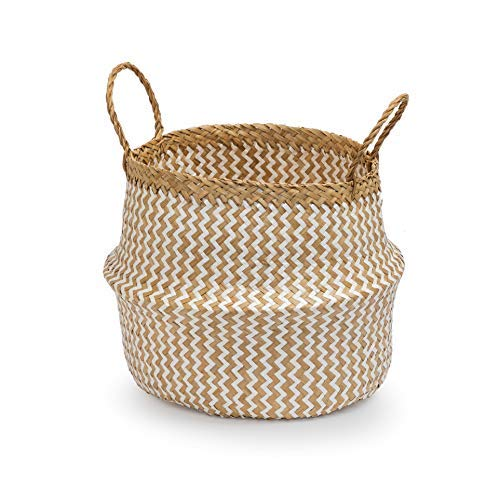 Seagrass Round Basket with Handles, Decorative Woven Basket, Plant Holder, Picnic Basket or Indoor Storage for Blankets, Toys or Laundry, by Toma Design (White - Zigzag, Small)