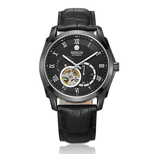 Binlun Gents Watch Dual Time 24 Hour GMT Water Resistant Automatic Skeleton Tourbillon Watches Men