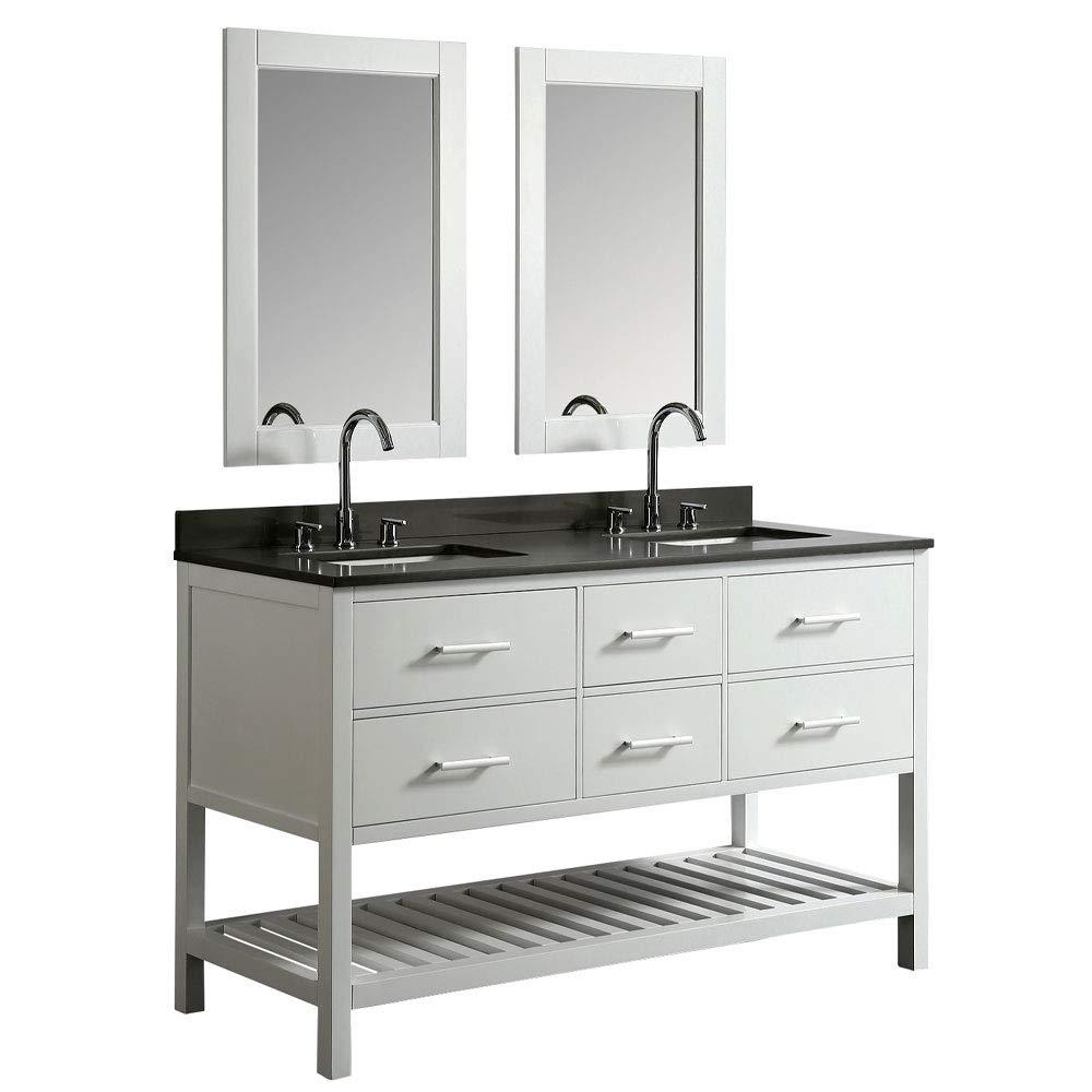 Luca Kitchen Bath Lc61bwg Valencia 61 Double Vanity Set Gray Top Sink And Mirror White W Quartz Amazon In Home Improvement
