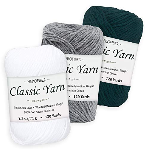 Cotton Yarn Assortment | Snow White + Light Denim + Dark Turquoise | 2.5oz / Ball - 3 Solid Colors - Worsted/Medium Weight - for Knitting, Crochet, Needlework, Decor, Arts & Crafts Projects