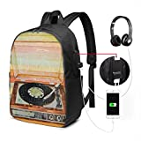 Vinyl Player Record Art College Laptop Backpack Bag with USB Charging Port Computer Business Backpacks for Women Men School Student Casual Hiking Travel Daypack