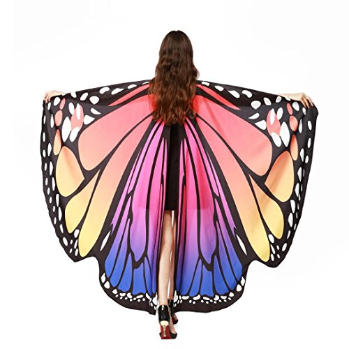 [Clearance!Ankola Women Butterfly Wings Shawl Scarves Capes Ladies Nymph Pixie Poncho Wraps Costume Accessory (168135cm, Hot Pink)] (Clearance Costumes)