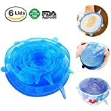 Silicone Stretch Lids SiFree Reusable Durable Expandable BPA Free FDA Approved Food Covers for Platters, Dishes, Dishwasher, Jars, Oven, Microwave, Freezer Safe, 6 Pack of Various Sizes