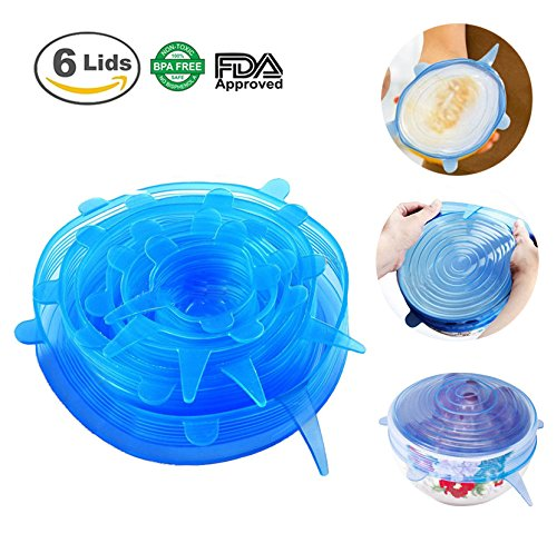 Silicone Stretch Lids SiFree Vacuum Food Storage Cover Reusable Durable Kitchen Gadget 6 Pack of Various Sizes