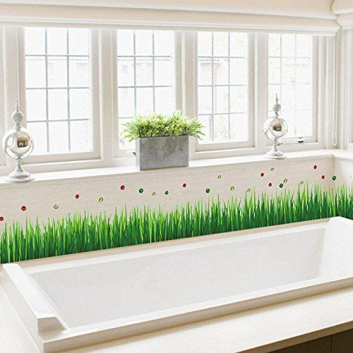 Phantomx Fresh green grass Ladybug baseboard Wall Sticker decal living Room (History Of Halloween For Kids Printable)
