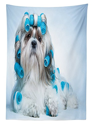 Dog Lover Decor Tablecloth Shih tzu Dog with Surlers Grooming Hairstyle Salon Front View Closeup Studio Shot Dining Room Kitchen Rectangular Table (Corn Roll Hairstyle)