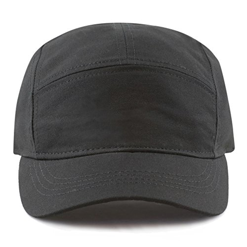 The Hat Depot Exclusive Made in USA Cotton 5 Panel Unstructured Outdoor Cap (Black) (Crown Five Panel Cap)
