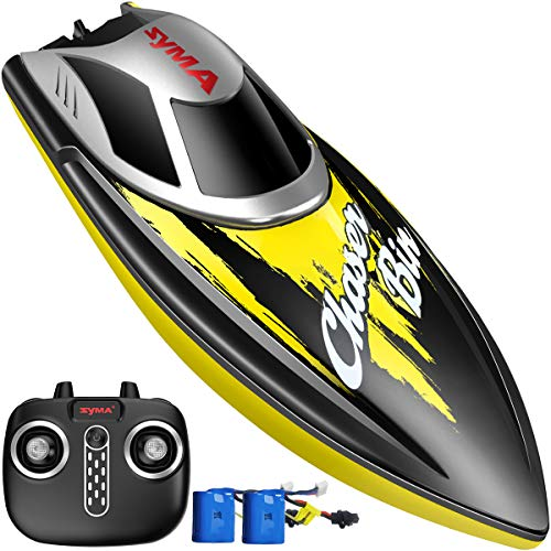 Remote Control Boat, SYMA Q7 Boat for Pools and Lakes with 2.4GHz 25km/h High Speed, Capsize Recovery, Low Battery Reminder, Special Water-Cooled System Toys for Kids or - Syma Rc Boats