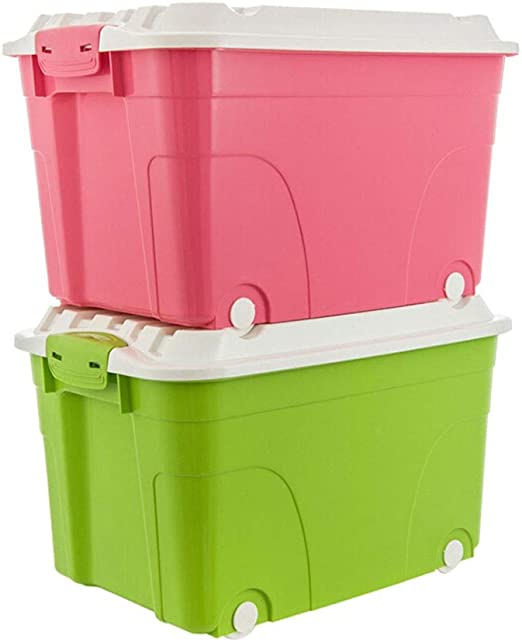 Caja almacenaje Ampliación de ruedas Caja de almacenamiento de plástico caja de almacenamiento de juguetes ropa de la caja de almacenamiento ((2 paquetes) Rojo + Verde) 60L cajas almacenaje plastico: Amazon.es: Hogar