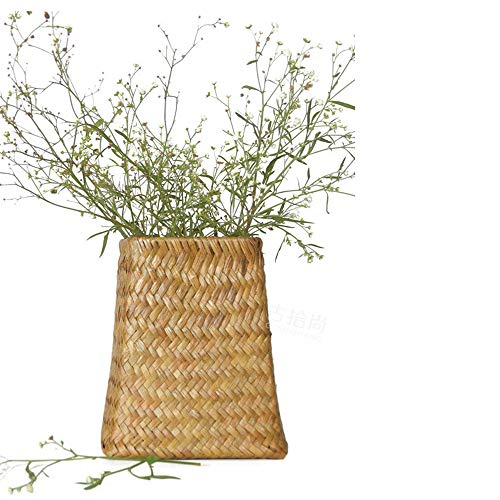 Victorian Vase Bud (Better-Way Straw Knitted Flower Basket, Shabby Chic Small Bud Vase, Decorative Floral Vase Vintage Home Decor, Table Top Centerpieces (Khaki))