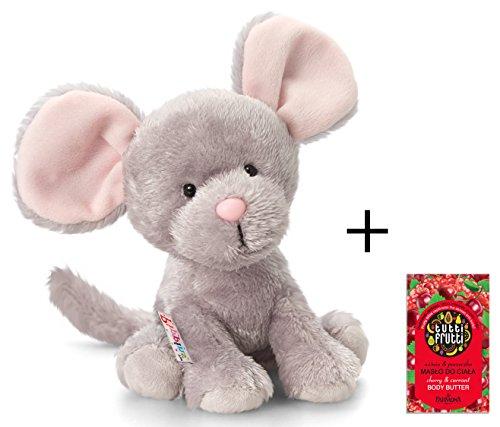 Plüschtier Maus Squeaks, graues Mäuschen, Kuscheltier Pippins ca. 14 cm im Set mit Bodybutter Kirsche - Johannisbeere, 7ml