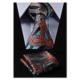 HISDERN Paisley Tie Handkerchief Woven Classic Men's Necktie & Pocket Square Set (Aqua & Orange)