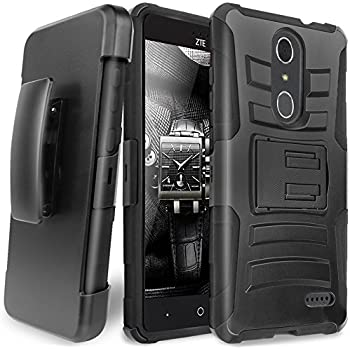 ZTE GRAND X4 Case, ZTE Blade Spark Case, TJS Dual Layer Hybrid Shock Absorbing Impact Resist Rugged Kickstand Armor Protection Case with Belt Clip Holster For ZTE GRAND X4/Blade Spark (Black/Black)