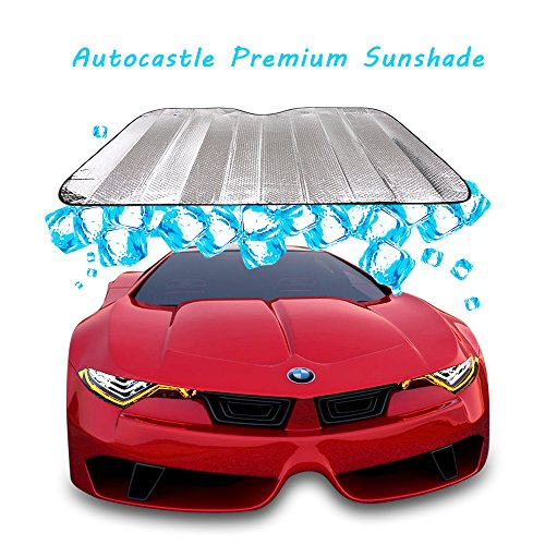 Autocastle Portable Car Windshield Sunshade, Folding Silvering Reflective SunBlocks, UV Ray Sun Visor Protector