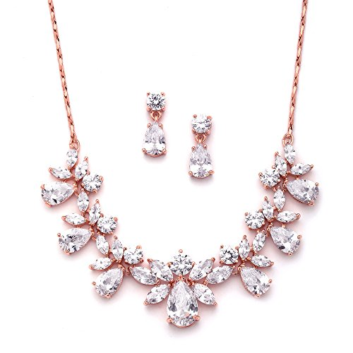 Mariell Rose Gold Multi-Shaped Cubic Zirconia Necklace & Earring Wedding Jewelry Set for Women and Brides