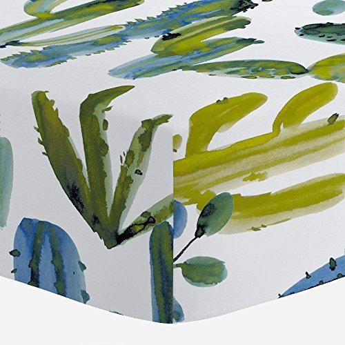 Carousel Designs Blue Painted Cactus Crib Sheet - Organic 100% Cotton Fitted Crib Sheet - Made in The - Sheet Blue Organic Crib