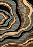 "Hudson Waves Blue Brown Geometric Modern Casual Area Rug 8×10 8×11 ( 7'10"" x 9'10"" ) Easy to Clean Stain Fade Resistant Shed Free Abstract Contemporary Natural Lines Multi Soft Living Dining Room Rug For Sale"
