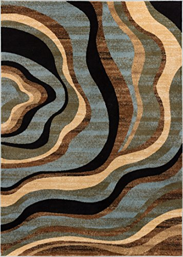 Hudson Waves Blue Brown Geometric Modern Casual Area Rug 5x7 ( 5'3