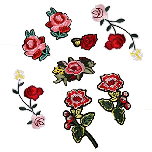 Franterd 8PC Floral DIY Sewing Repair Patches Collar Bouquet Boho Embroidered Appliques iron-ons patches Sticker Applique (Baby Iron Ons)