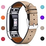 Hotodeal Band Compatible Charge 2 Replacement Bands, Classic Genuine Leather Wristband Metal Connectors, Fitness Strap Women Men Small Large Light Brown