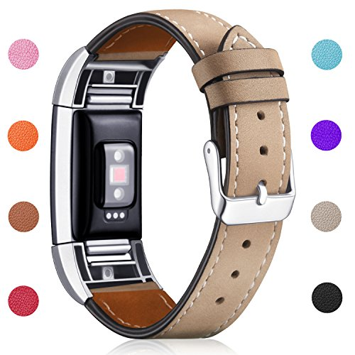 Hotodeal Band Compatible Fitbit Charge 2 Replacement Bands, Classic Genuine Leather Wristband Metal Connectors, Fitness Strap Women Men Small Large Light Brown